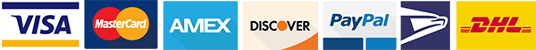 Visa, MasterCard, AMEX, Discover, PayPal, DHL