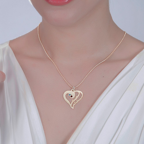 Two Heart Forever Name Necklace