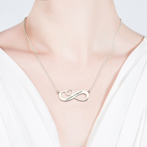 Engraved Infinity Heart necklace Sterling Silver