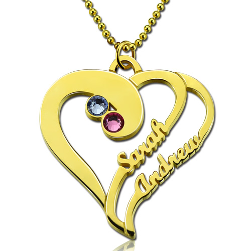 Two Hearts Forever Name Necklace