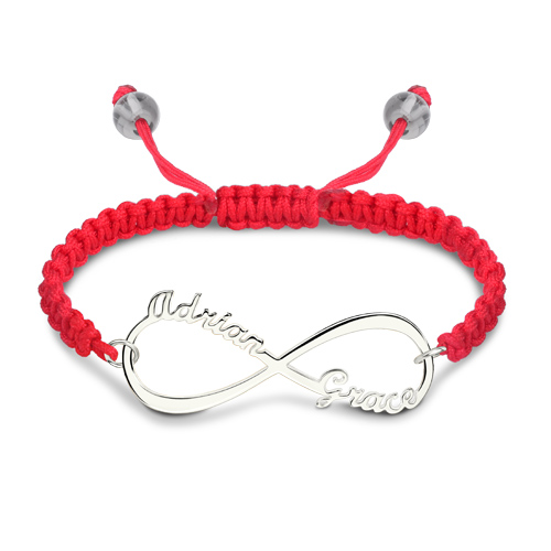 Personalized Infinity Two Names Cord Bracelet