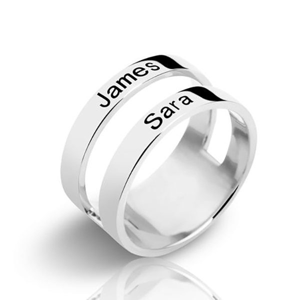 Customized Engraved Two Names Ring Sterling Silver