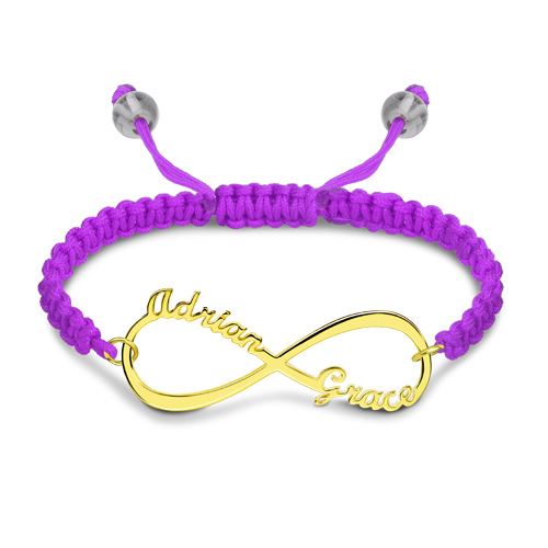 Personalized Infinity Two Names Cord Bracelet Gold Plated