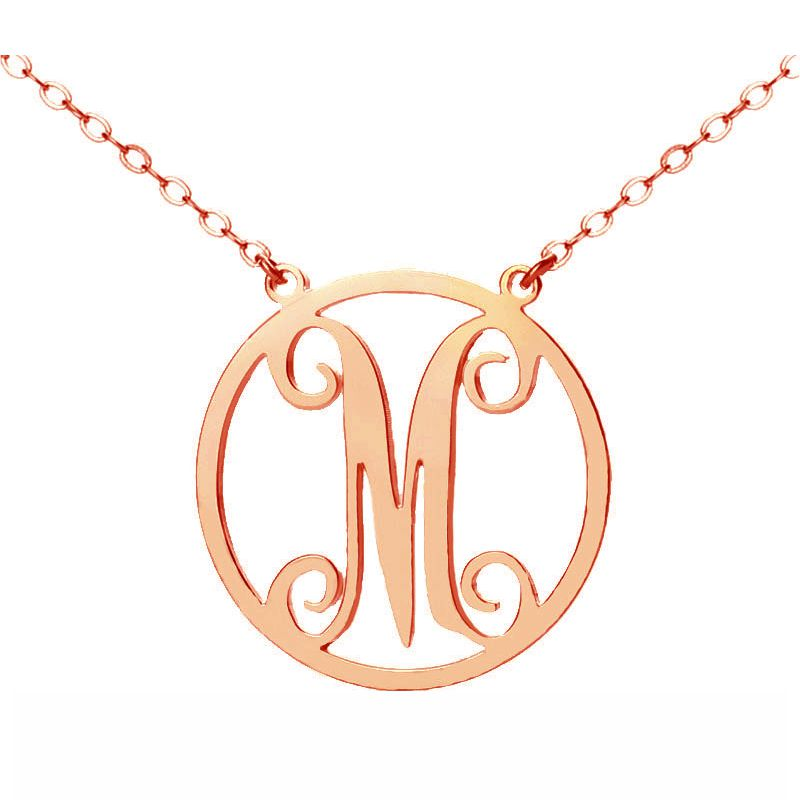 Rose Gold One Initial Circle Monogram Necklace