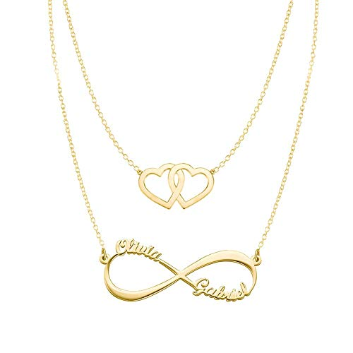 Hearts Infinity Necklaces Set For Her Gold Plated