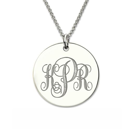 Engraved Disc Monogram Necklace Silver