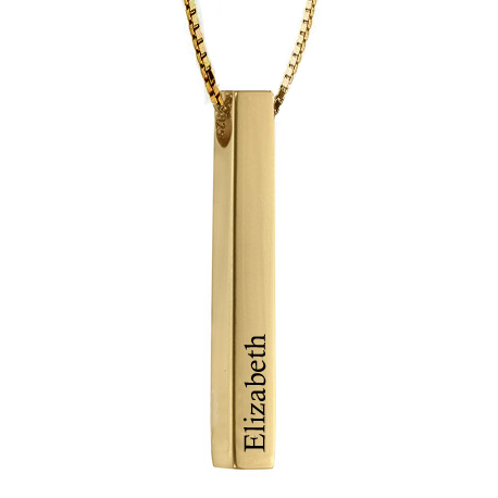 3D Engraved Bar Necklace 18k Gold Plated