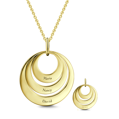 Jewelry For Moms - Three Disc Necklace 18K Gold Plated
