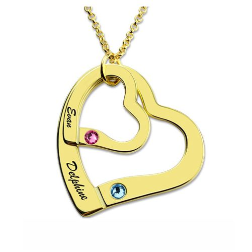 Two Hearts Necklace Gold Plated