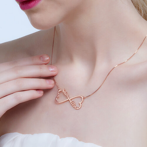 Personalized Heart Necklace Rose Gold Plated