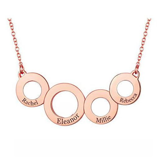 Engraved Circles Necklace In Rose Gold