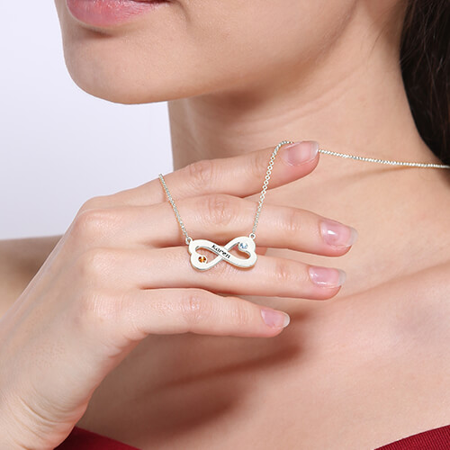Engraved Silver Infinity Heart Necklace