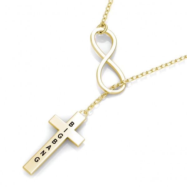 Cross Engraved Bar Necklace 18k Gold Plated