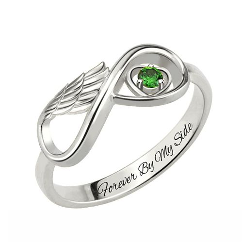 Angel Wing Infinity Heart Ring
