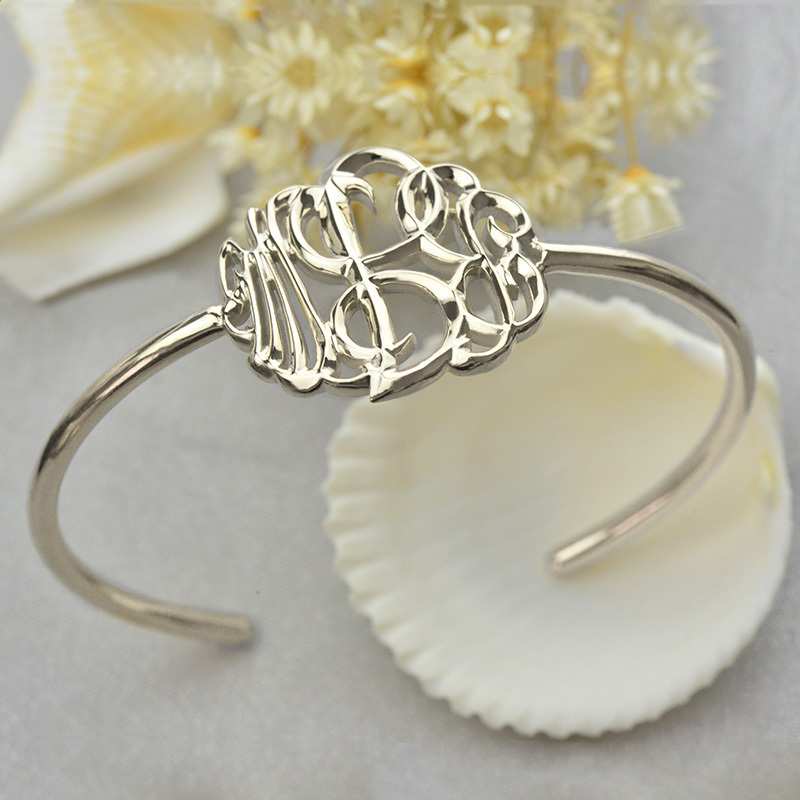 Monogram Bangle Bracelet Hand-painted Silver