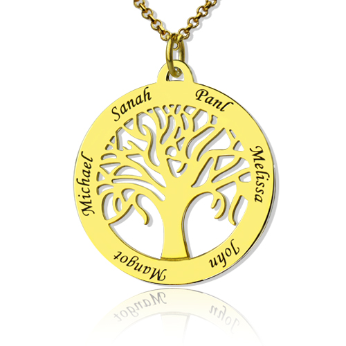 Tree of Life Jewelry Family Name Necklace in Gold