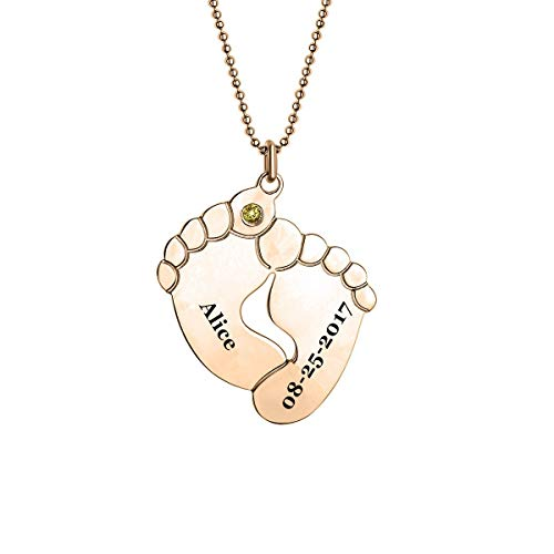 Engraved Baby Feet Necklace
