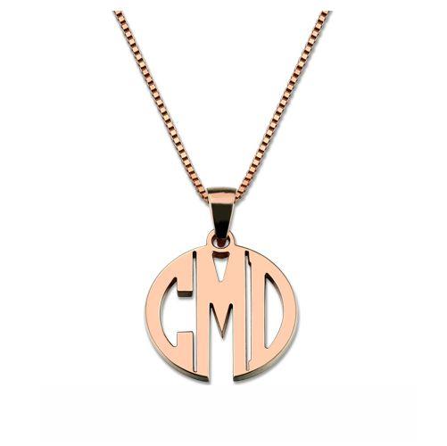Custom Block Monogram Necklace In Rose Gold