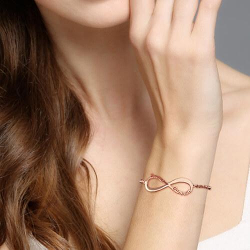 Infinity Symbol Name Bracelet Rose Gold