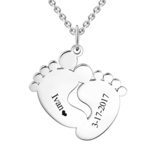 Personalized Baby Feet Necklace Silver