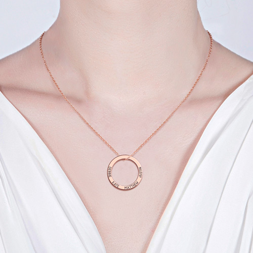 Engraved Hoop Family Necklace In Rose Gold