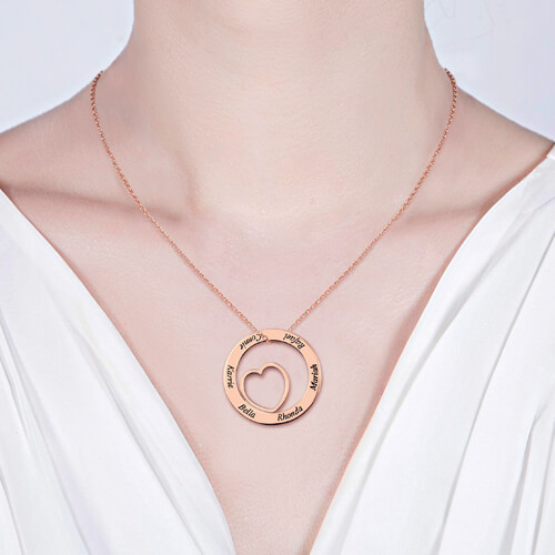 Engraved Love Circle Name Necklace In Rose Gold