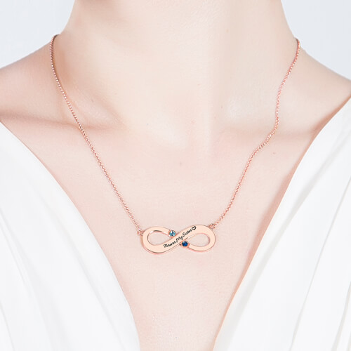 Engraved Infinity Necklace Two Birthstones