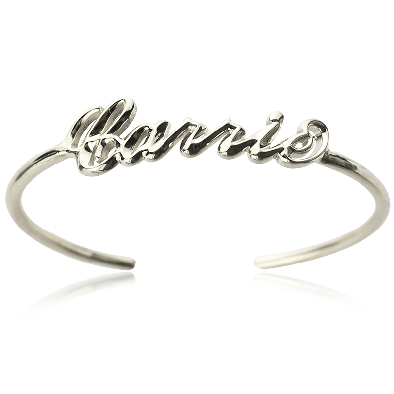 Personalized Sterling Silver Name Bangle Bracelet