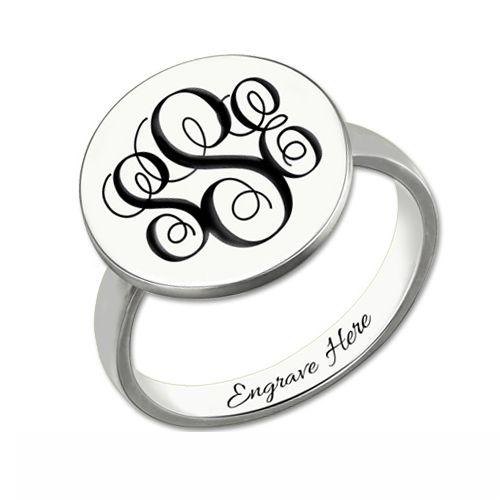 Engraved Monogram Signet Ring Sterling Silver