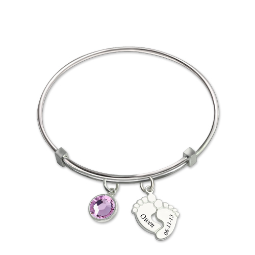 Baby Feet Bangle With Birthstone