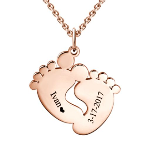 Personalized Baby Feet Necklace Rose Gold
