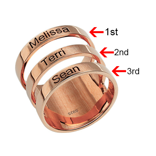 Mother's Engraved Three Names Ring