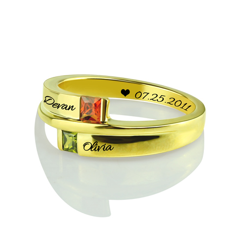 Engraved Double Square Birthstone Rings Gold Plated