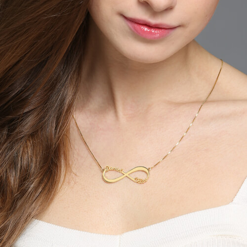 Infinity Necklace Double Name - 18k Gold Plated