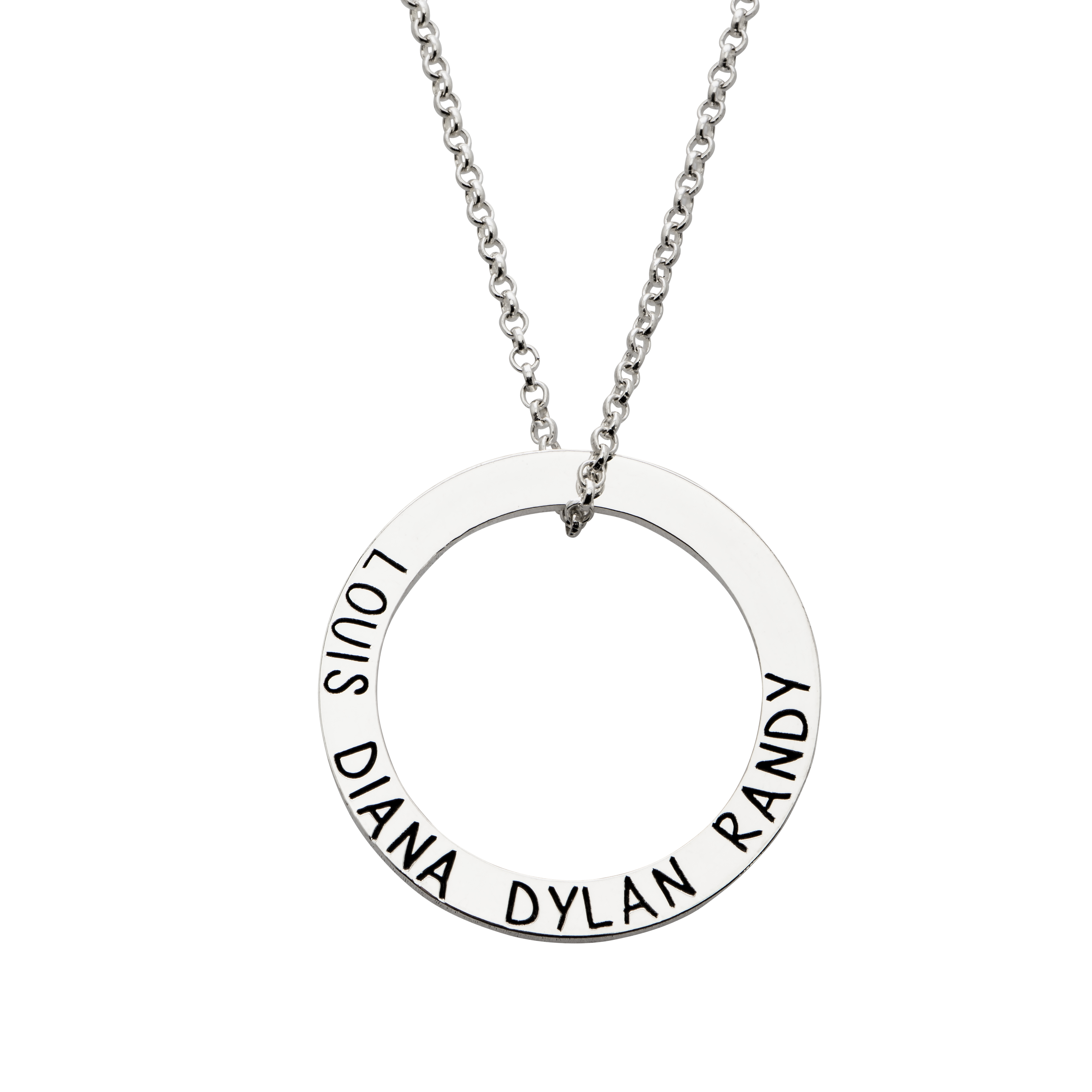 Engraved Hoop Family Necklace
