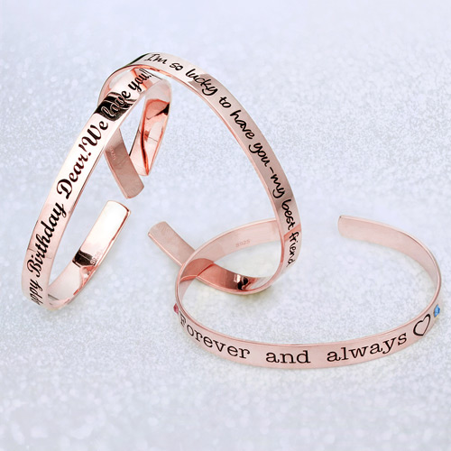 Engraved Bangle With Birthstones In Rose Gold