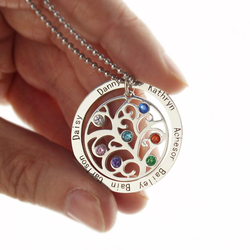 Personalized Family Tree Necklace Mother/'s Necklace Birthstone Name Necklace
