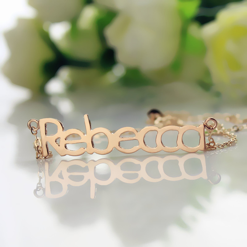 Rose Gold Rebecca Name Necklace