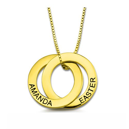 Custom Double Russian Ring Name Necklace Gold Plated