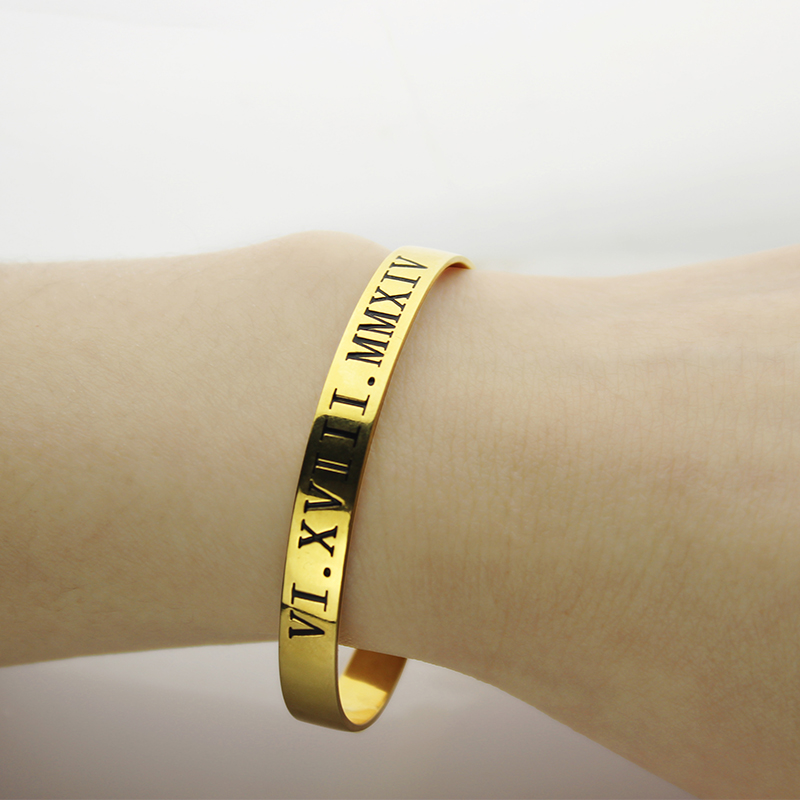 Personalized Roman Numeral Bracelet 18K Gold Plated