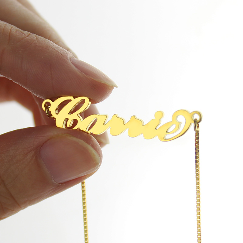 Gold Sex and The City Carrie Name Necklace