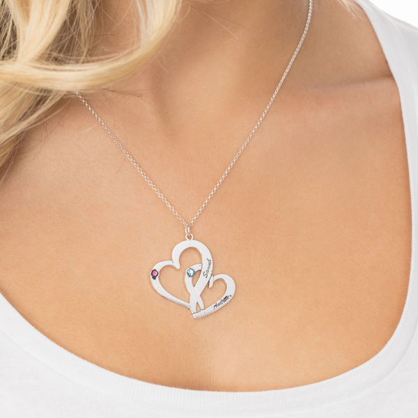 Interlocking Two Hearts Necklace