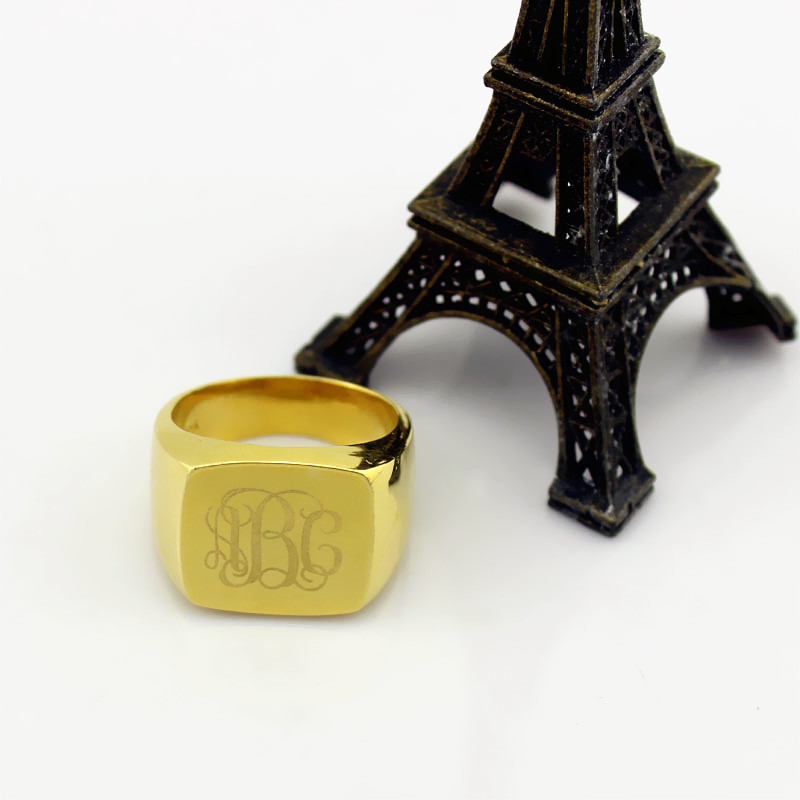 18K Gold Plated Monogram Initial Ring