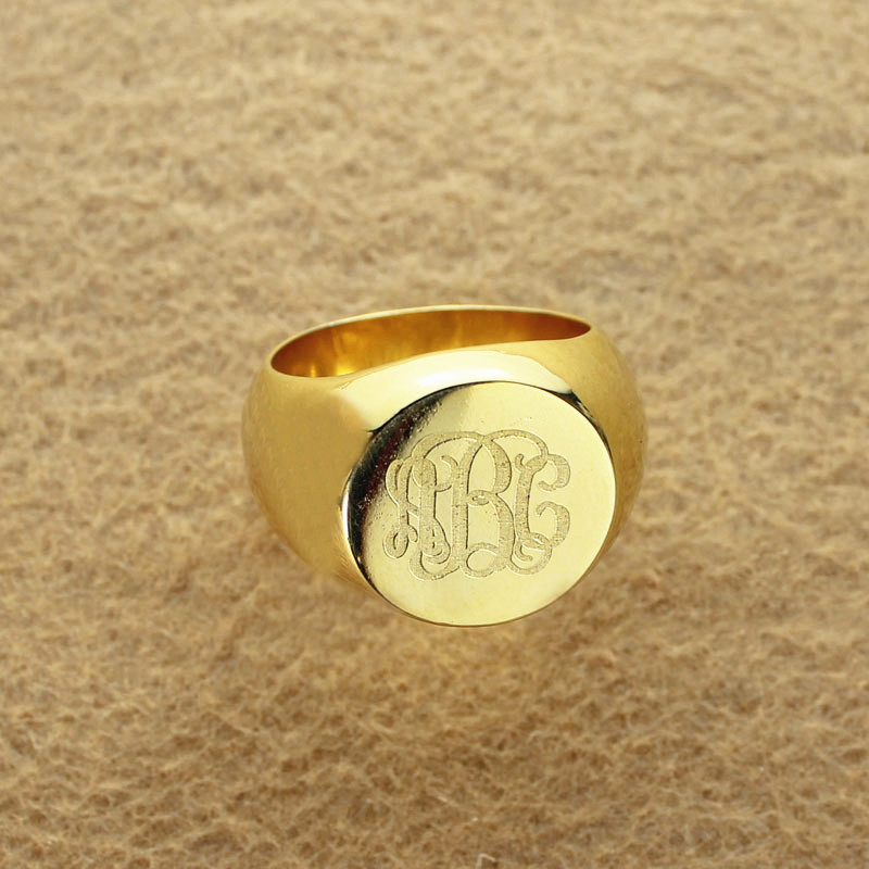 Engraved Circle Monogram Signet Ring