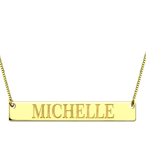Engraved Bar Necklace Gold Plated Silver
