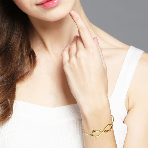 Infinity Two Names Bangle Gold Plated