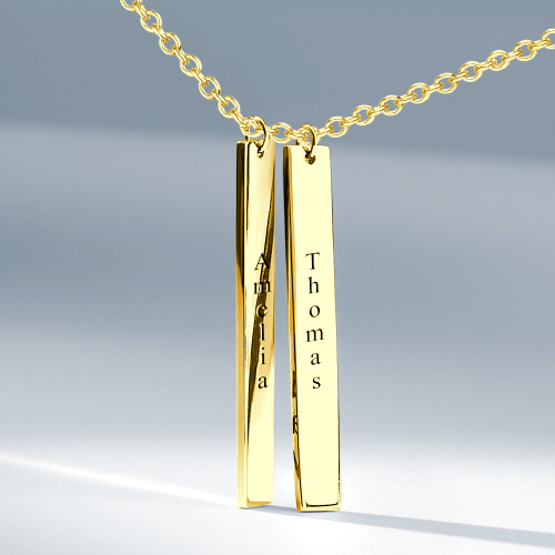 Engraved Bar Necklace 18k Gold Plated