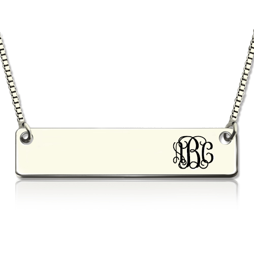 Engraved Monogram Initial Bar Necklace