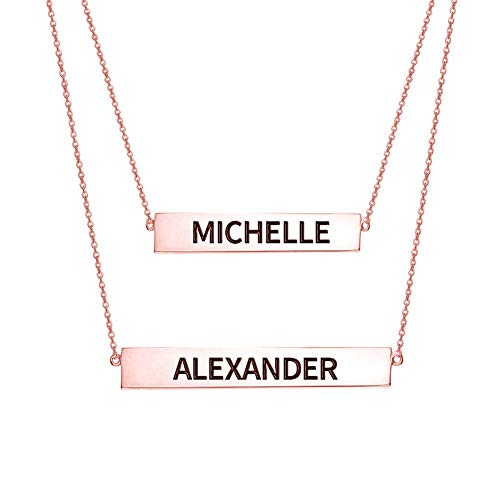 Engraved Name Bar Set Necklace In Rose Gold