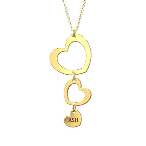 Three Heart Forever Name Necklace 18k Gold Plated